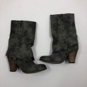 "MIA ""Jeri"" Mid-Calf Foldover Gray Boots Size 6"